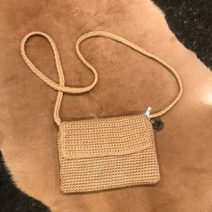 The Sak Small Crochet Crossbody Beige w/Metallic